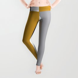 Quatro Stripe Minimalist Broad Stripe Color Block Pattern in Mustard Yellow, Navy Blue, Gray, White Leggings