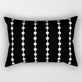 Geometric Droplets Pattern Linked White on Black Rectangular Pillow