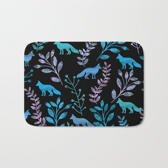 Watercolor Floral & Fox IV Bath Mat