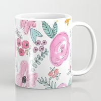sayings Mugs featuring Pink Watercolor Floral Print  by Jenna Kutcher