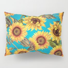 Vintage & Shabby Chic - Sunflowers on Teal Pillow Sham