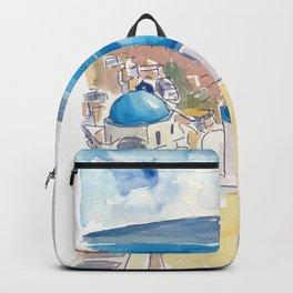 Santorini Oia View Mediterranean Dream Backpack