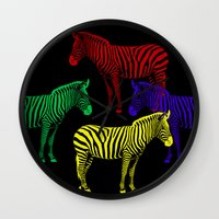 popart Wall Clocks featuring Zebra PopArt by Monika Juengling