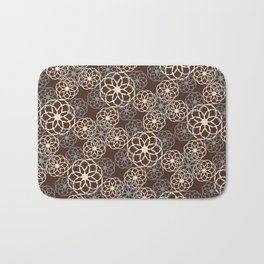 Brown and Silver Floral Pattern Bath Mat