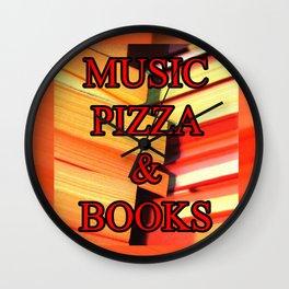 Music Pizza & Books Wall Clock