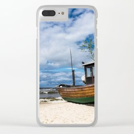 Fishing boat on the beach Clear iPhone Case