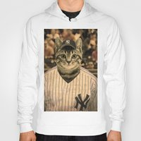 baseball Hoodies featuring Baseball Cat by Luigi Tarini