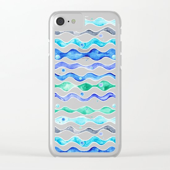 Ocean Pattern - Dolphin Clear iPhone Case
