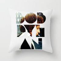 font Throw Pillows featuring Bob Dylan Font Colour by Fligo