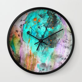 Hand painted teal orange black watercolor Wall Clock