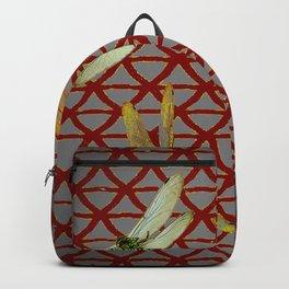 DRAGONFLIES  RED-GREY ORIENTAL SCREEN ART Backpack