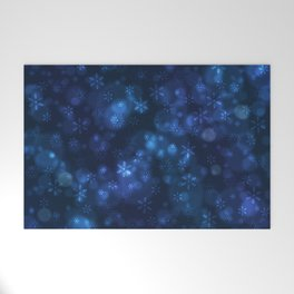 Blue Snowflakes Winter Christmas Pattern Welcome Mat