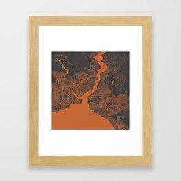 Istanbul Map orange Framed Art Print
