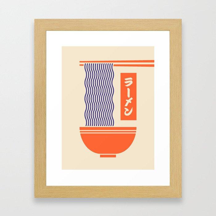 Ramen Japanese Food Noodle Bowl Chopsticks - Cream Gerahmter Kunstdruck