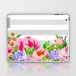 FLORAL GRAY STRIPES Laptop & iPad Skin