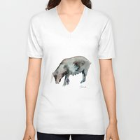pig V-neck T-shirts featuring Pig by Elena Sandovici