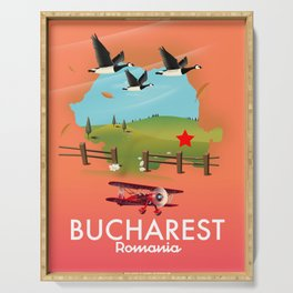 Bucharest Romania vacation map Serving Tray