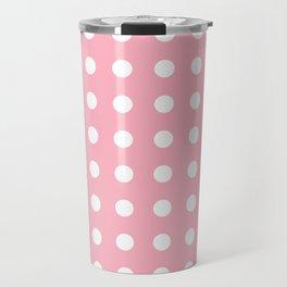 White Circles on Chantilly Pink Travel Mug