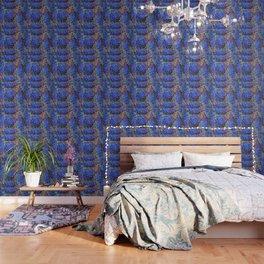 ORNATE BLUE-PINK SUCCULENT ART Wallpaper