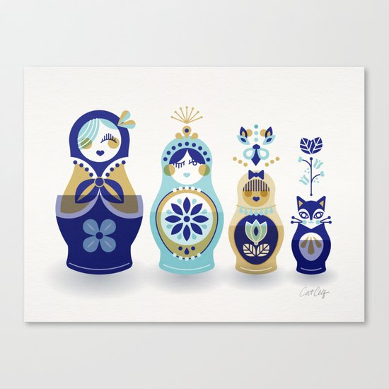 Russian Nesting Dolls – Blue & Gold Canvas Print