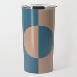 Brown Dark Blue Minimal Half Circle Design 2021 Color of the Year Canyon Dusk & Bering Wave Travel Mug