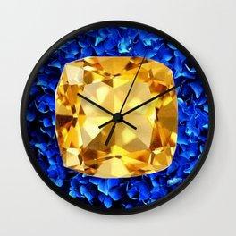 LARGE CHAMPAGNE TOPAZ GEM SEPTEMBER BIRTHSTONE ART Wall Clock