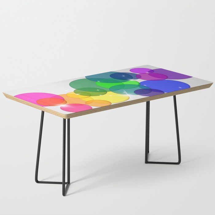 Translucent Rainbow Colored Circles with Sparkles - Multi Colored Coffee Table