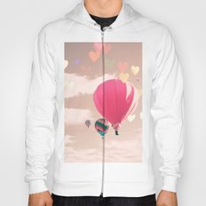 Hot air balloon and heart bokeh on pale pink Hoody