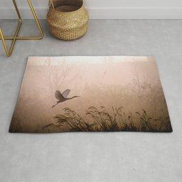 Egret - Flying - Fog - Dawn - Sunrise - Grass - Reed - Heron. Little sweet moments. Rug