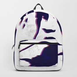 street art style girl in blue and pink on marble pattern Backpack