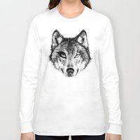 door Long Sleeve T-shirts featuring The Wolf Next Door by florever