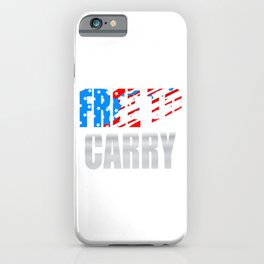 """Free To Carry "" tee with american flag color effect tee design.Patriots and freeman will love this! iPhone Case"