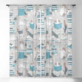 Life is better with books a hot drink and a friend // grey background brown white and blue beagles and cats and turquoise cozy details Sheer Curtain