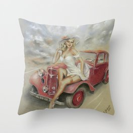 Girl and Classic Car - Vintage Throw Pillow