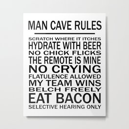 Man Cave Rules for Man Cave or Office Metal Print