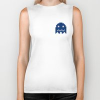 pac man Biker Tanks featuring Pac-Man Blue Ghost by Psocy Shop