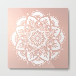 Flower Mandala on Rose Gold Metal Print
