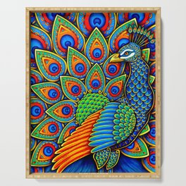 Colorful Paisley Peacock Rainbow Bird Serving Tray