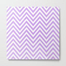 Zigzag Pattern, Chevron Pattern - White Purple Metal Print