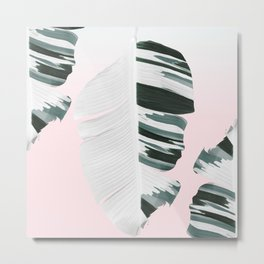 White Green Pastel Tropical Banana Leaves Design Metal Print