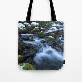 Snow, Moss, Water Over Rocks Tote Bag