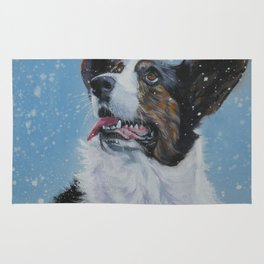 The Cardigan Welsh Corgi dog art portrait from an original painting by L.A.Shepard Rug
