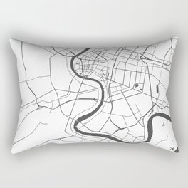Bangkok Thailand Minimal Street Map - Gray and White Rectangular Pillow