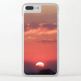 Sweet Pink Orange Sunset Clear iPhone Case