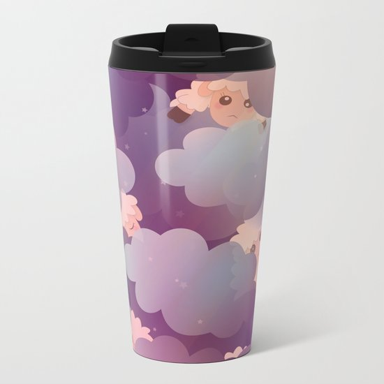 Heavenly Baby Sheep II - Wine Purple / Plum Color, Star Night Sky Background Metal Travel Mug