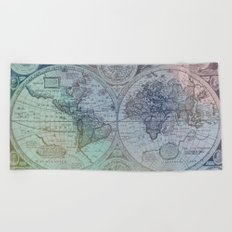 Map of the Colorful World Beach Towel