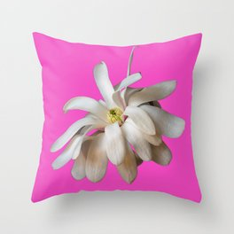 Star Magnolia on Pink Background Throw Pillow