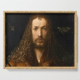 Self-Portrait at the Age of Twenty Eight by Albrecht Dürer Serving Tray