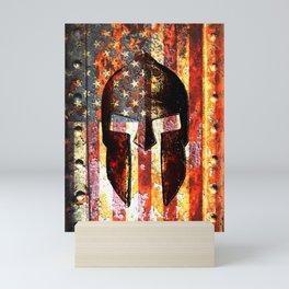 American Flag And Spartan Helmet On Rusted Metal Door - Molon Labe Mini Art Print