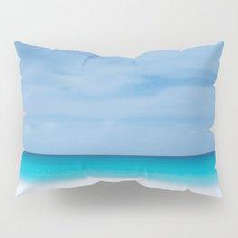 Tropical paradise beach turquoise sea ocean nature travel hipster Caribbean Fiji horizon photograph Pillow Sham